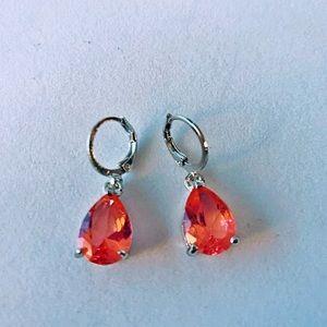 Sterling Silver Genuine Pink Sapphire Earrings